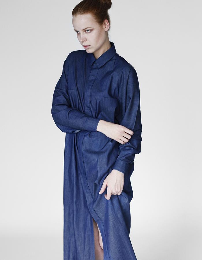 Origami denim limited edition maxi shirt YOJIRO KAKE  AW Japanese fashion designer based in Florence Italy