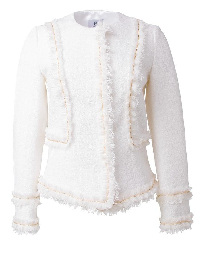 Fringed white tweed jacket