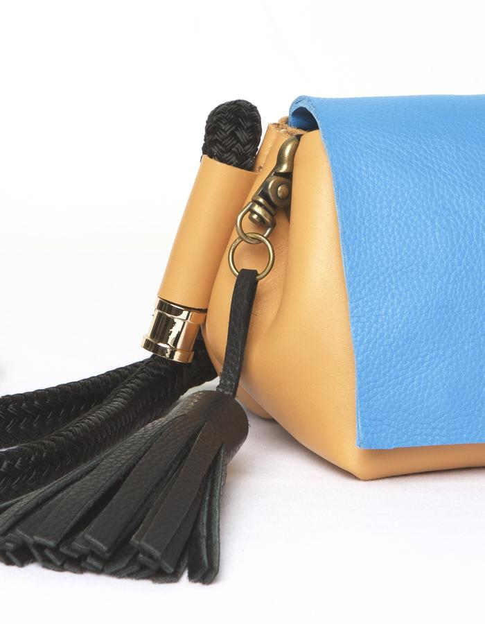 KIT Crossbody / Cobalt + Caramel Leather / Adjustable Braided Nylon Strap