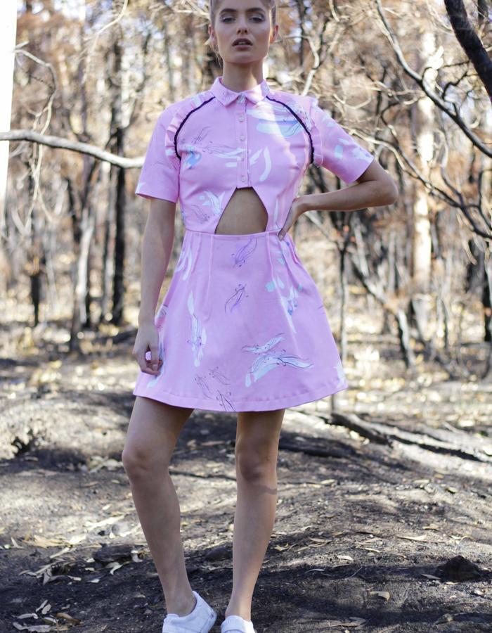 Eucalypt Dress- Pink Print. 100% cotton drill