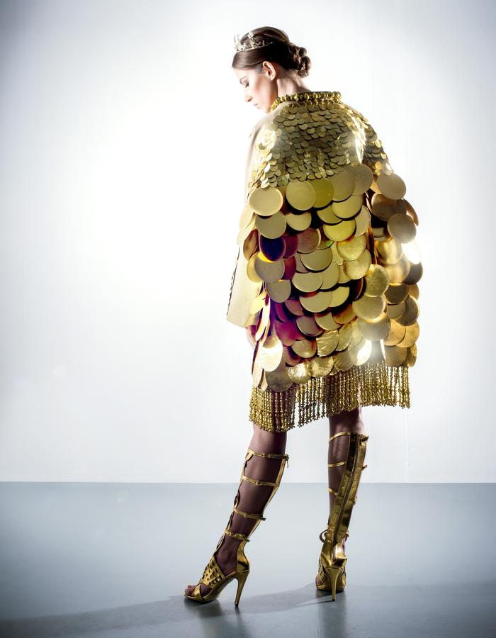 Gold embellished large and small sequin coat