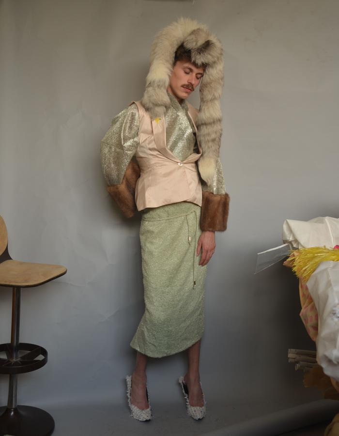 Cellophan Mink Kimono, Silk Bar Jacket with fruit embroidery, Cellophane-Knit Skirt