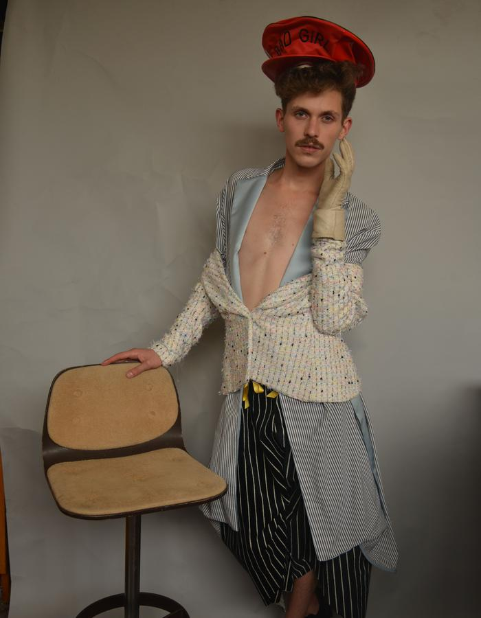 Seersucker Robe, Buclé Bar Jacket, twisted Velvet Pants