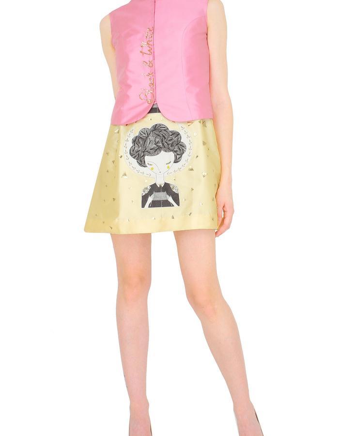 Pink jacket with beige short dress.