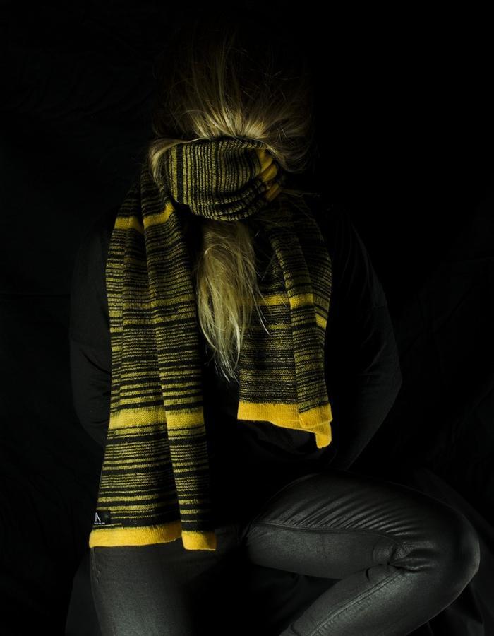 Random yellow stripe scarf. 100% Merino wool, hand made in Ireland.
