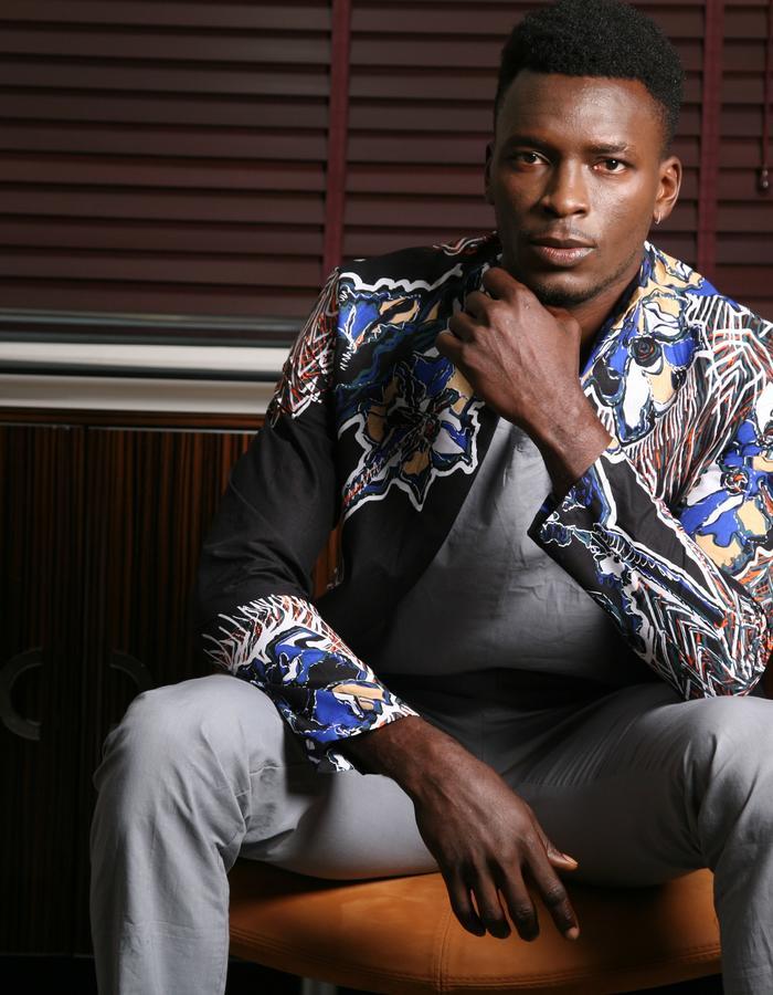 Latreia - Men's Print Overcoat and casual set