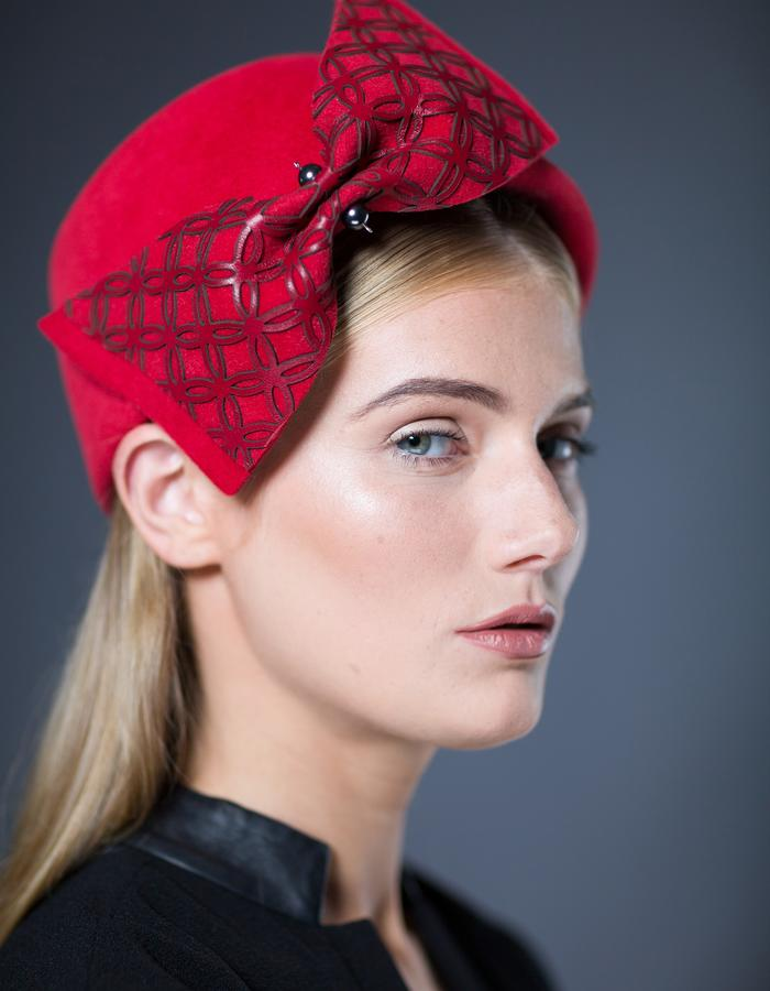 Sally-Ann Provan Millinery AW16 Collection – Panji red felt and leather pillbox hat