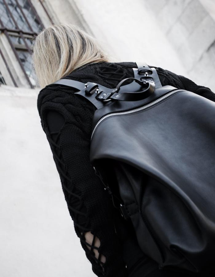 TEO NG BLACK LEATHER HARNESS BACKPACK HAND MADE IN FRANCE