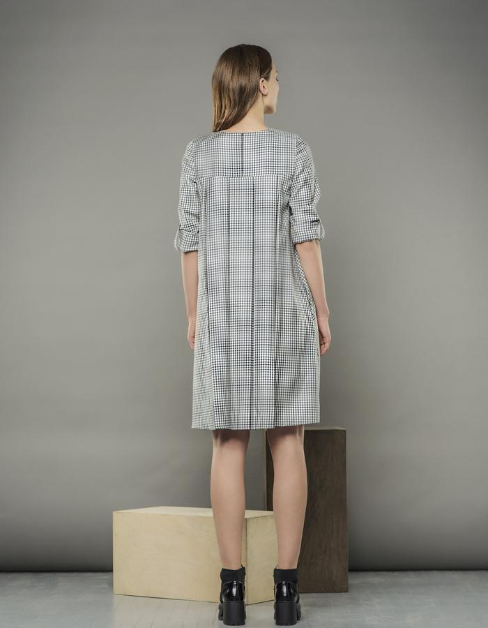 BLUE CHECKED SWING DRESS