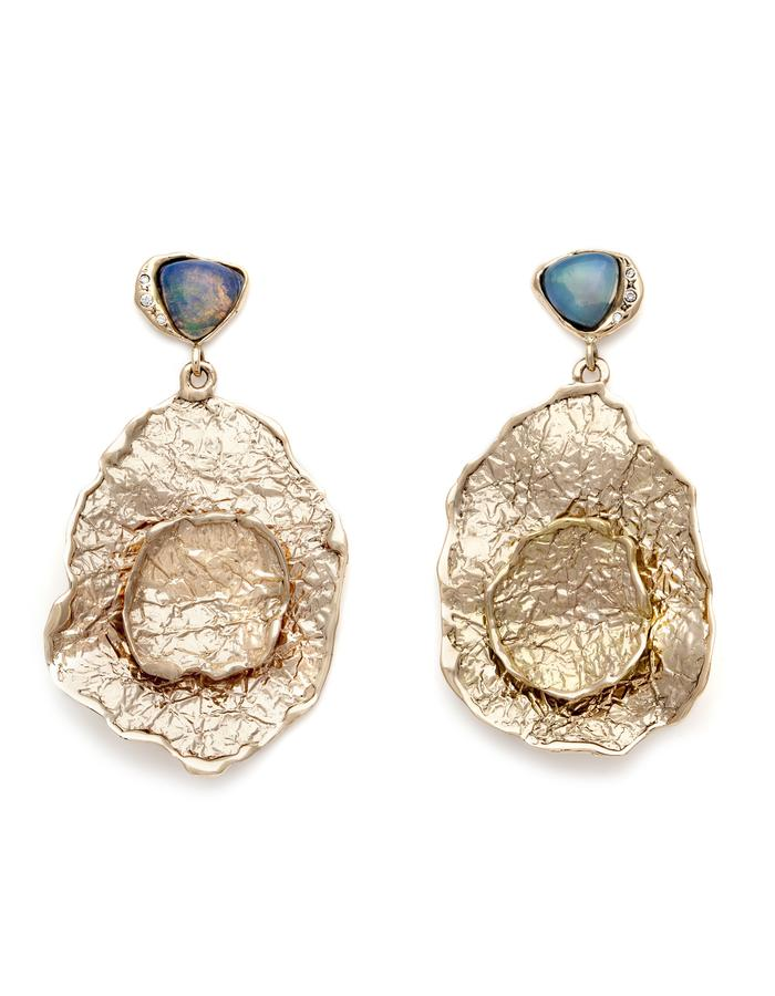 One of a kind, natural opals and diamonds set in 14kt yellow gold