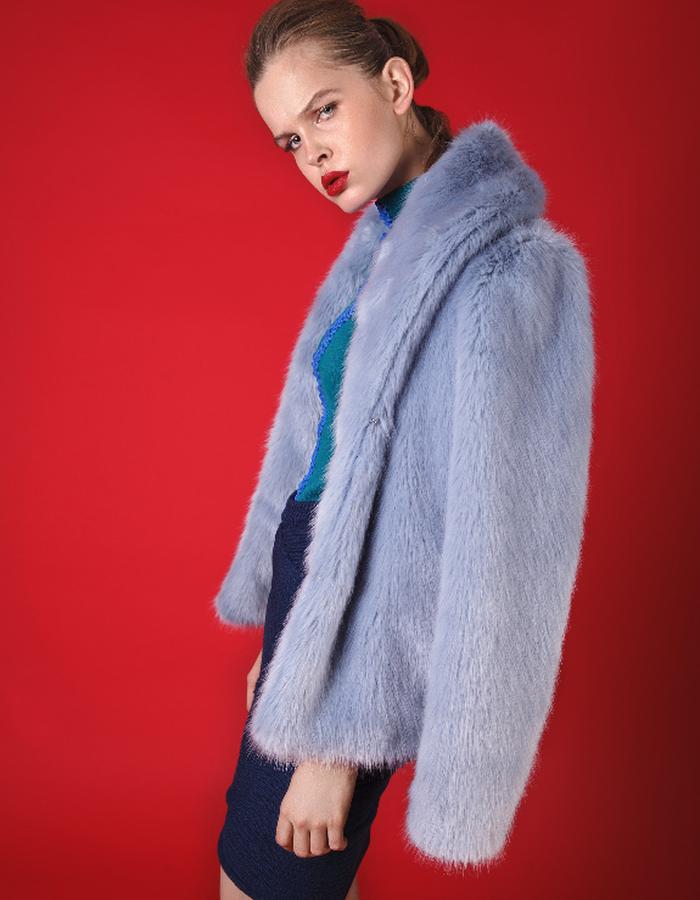 Pale blue faux fur coat