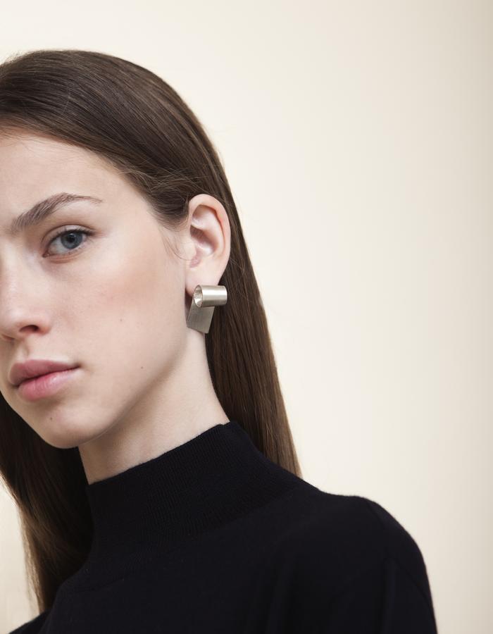 Long Rolled minimalist Stud Earrings