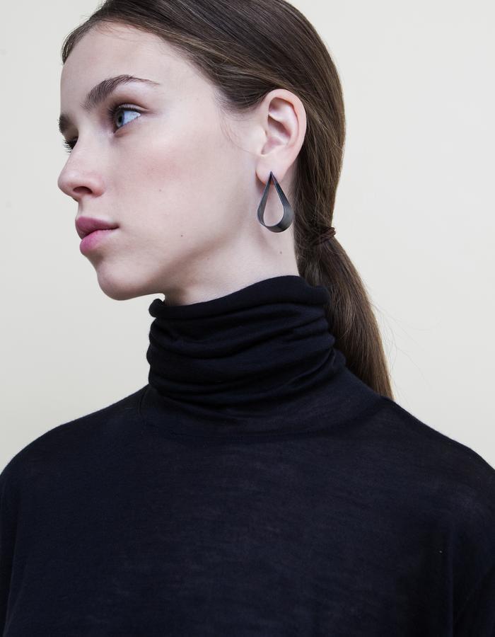 Oxridized Silver Teardrop Stud earrings.