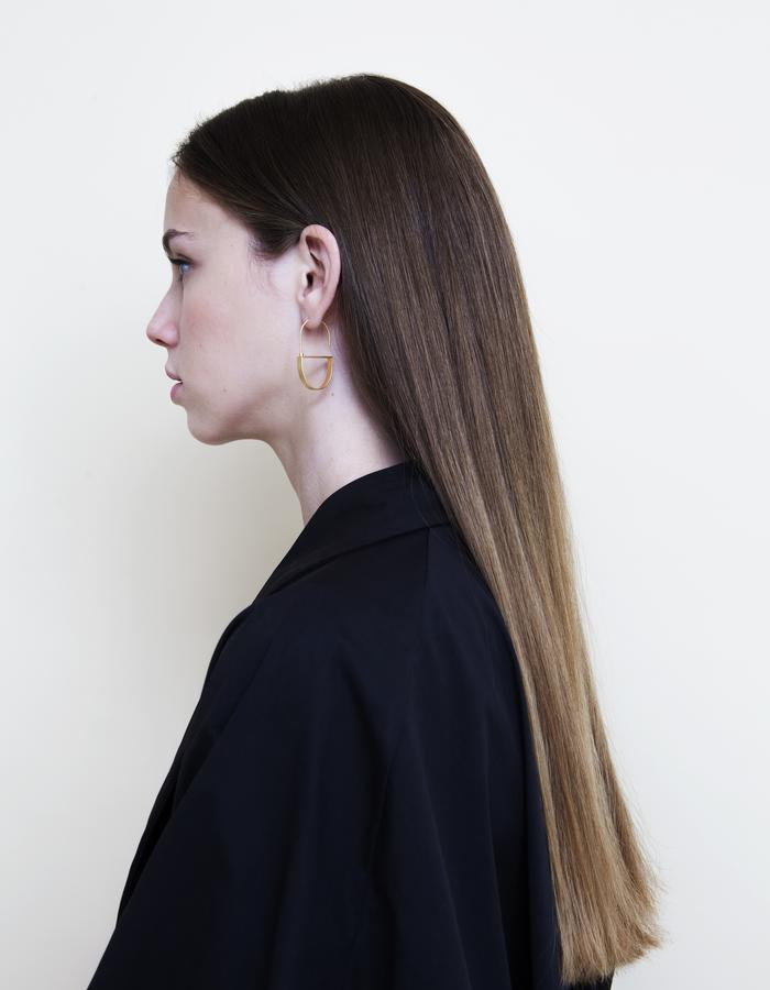 Half Ellipse Dangle Earrings - Gold