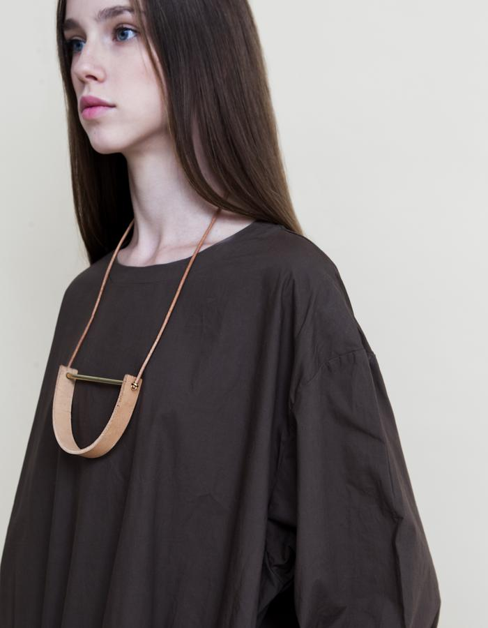 Gold Nude U- Shaped Leather Necklace.