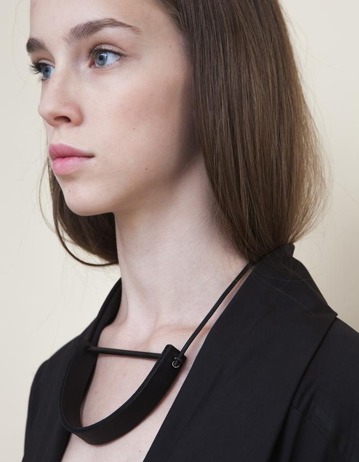 Black U-Shaped Leather Metal Necklace