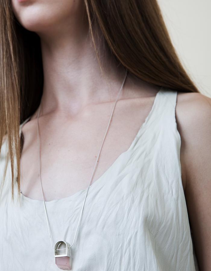 Silver Rose Quartz Necklace