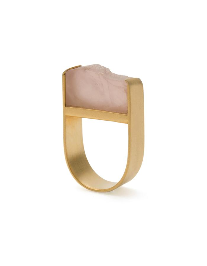 The Love Ring - Rose quartz Golden Ring