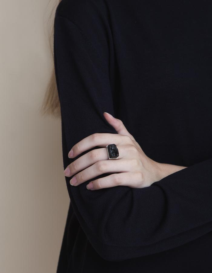 The Castle Ring - Black Tourmaline Silver Ring