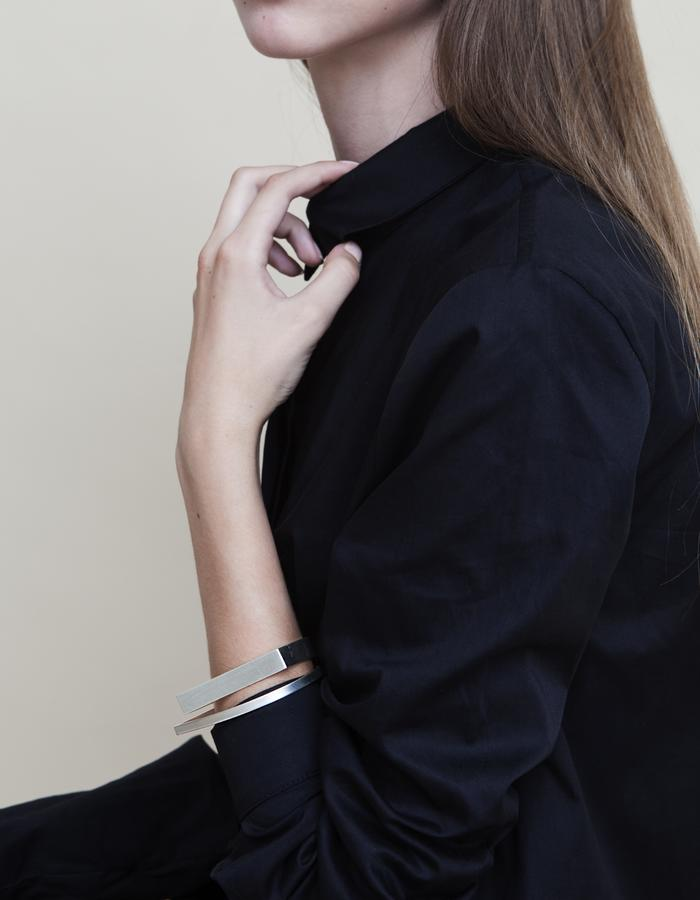 Slim & Wide U - Shaped Silver Bangle Bracelet