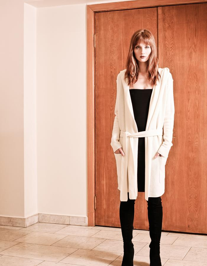 White cashmere hooded cardigan EDITH