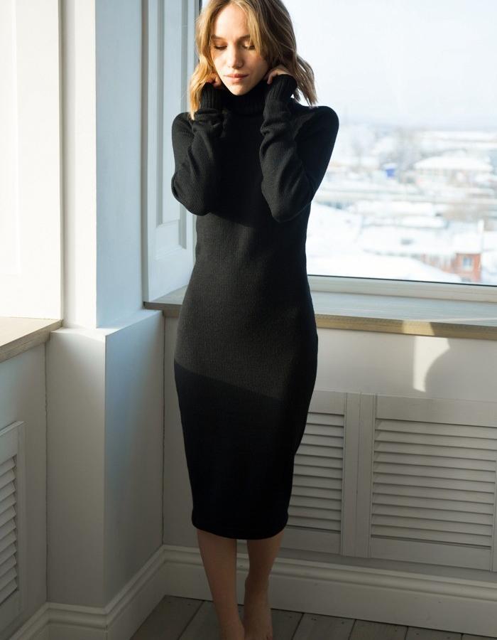 Turtleneck dress, 100% extrafine merino wool