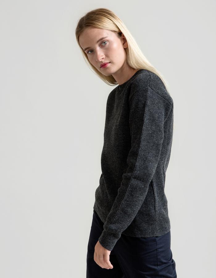 Fisherman's Rib Merino Sweater - Dark Grey