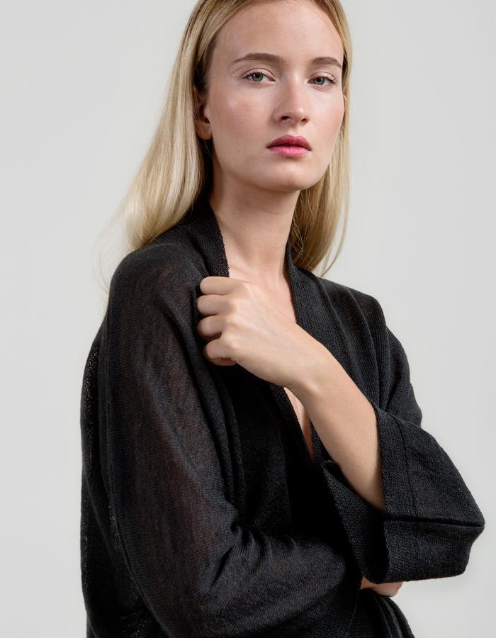 Airy Mohair Kimono - Jet Grey