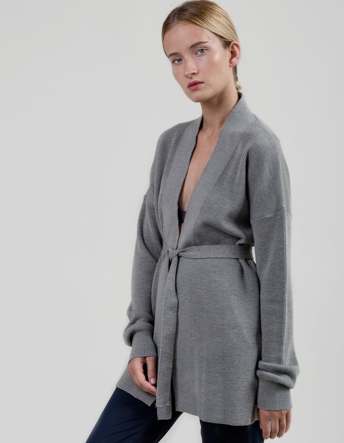 Long Merino Cardigan - Melange Grey