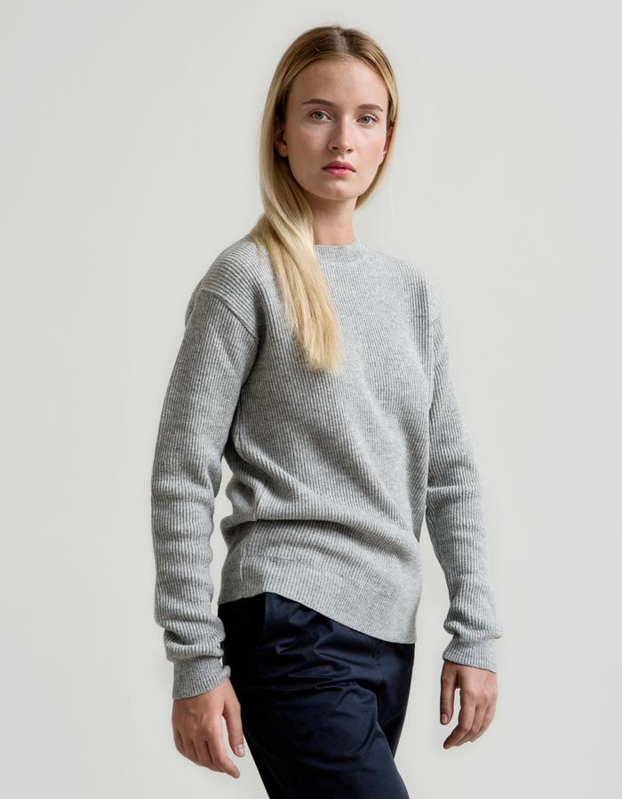 Fisherman's Rib Merino Sweater - Melange Grey