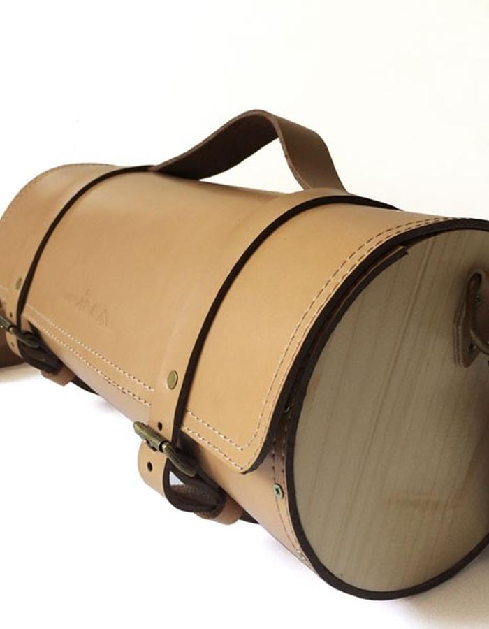 wood leather bag zvinca cylinder