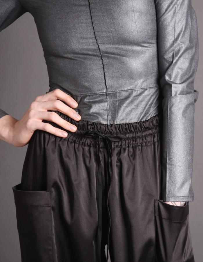 Silver bodysuit + Cotton shine trousers detail