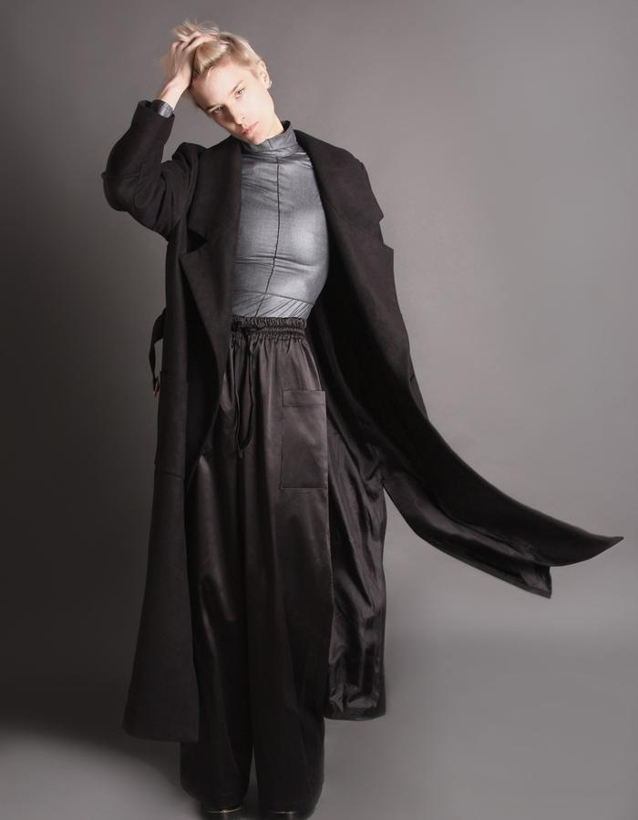 Black wool coat front