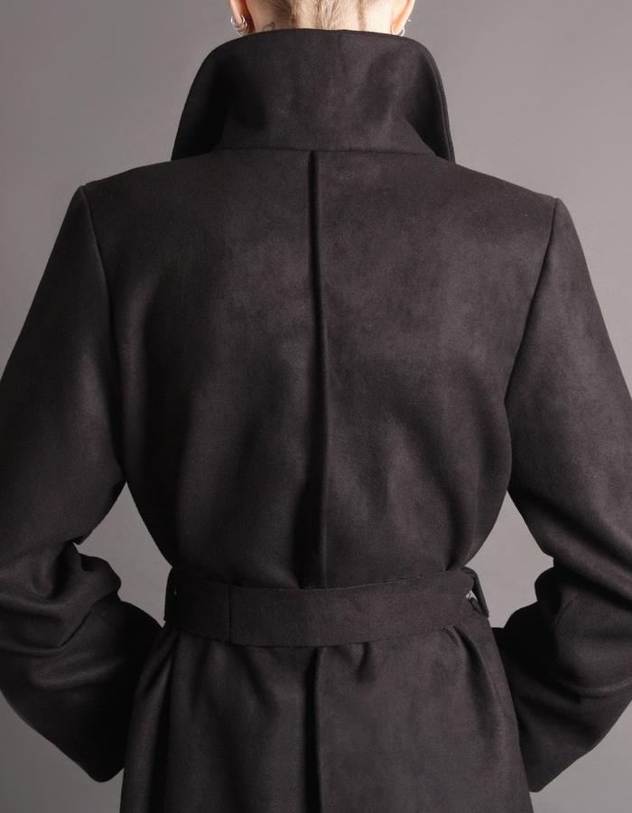 Black wool coat detail