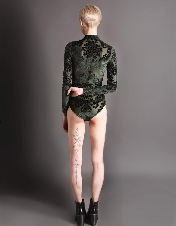 Green bodysuit back