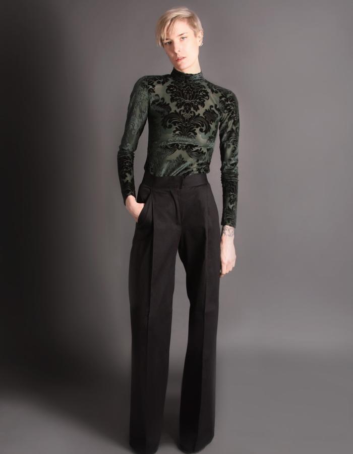Black cotton heavy trousers front