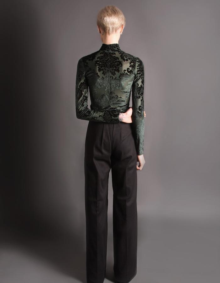 Black cotton heavy trousers back