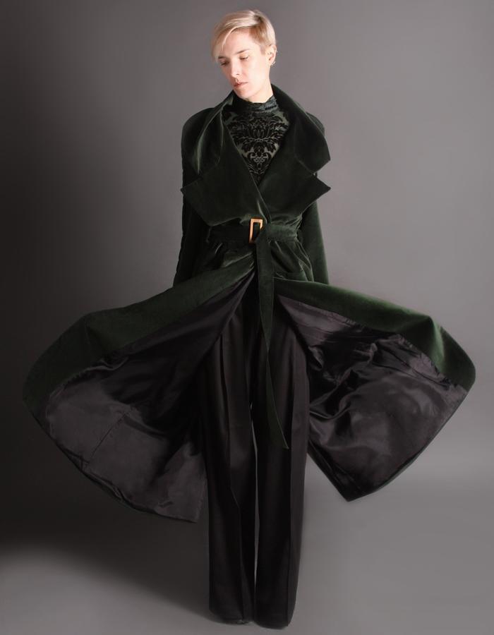 Green velvet coat with bamboo buckle front