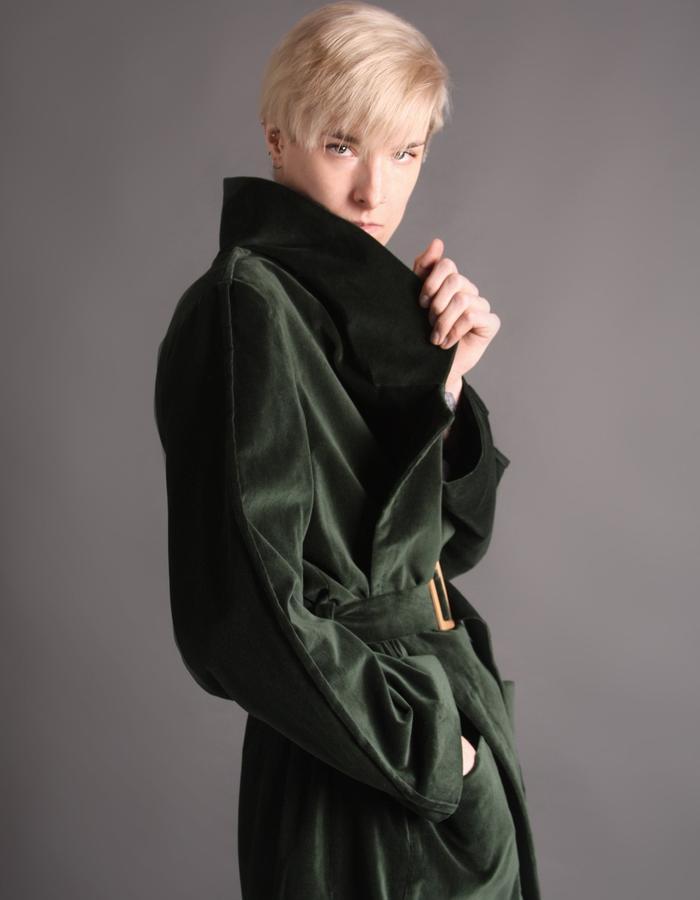 Green velvet coat detail