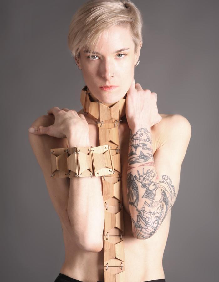 Bamboo necklace + bracelet