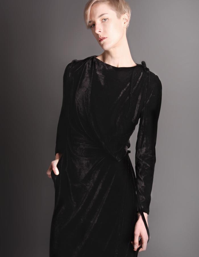Black wrap dress detail