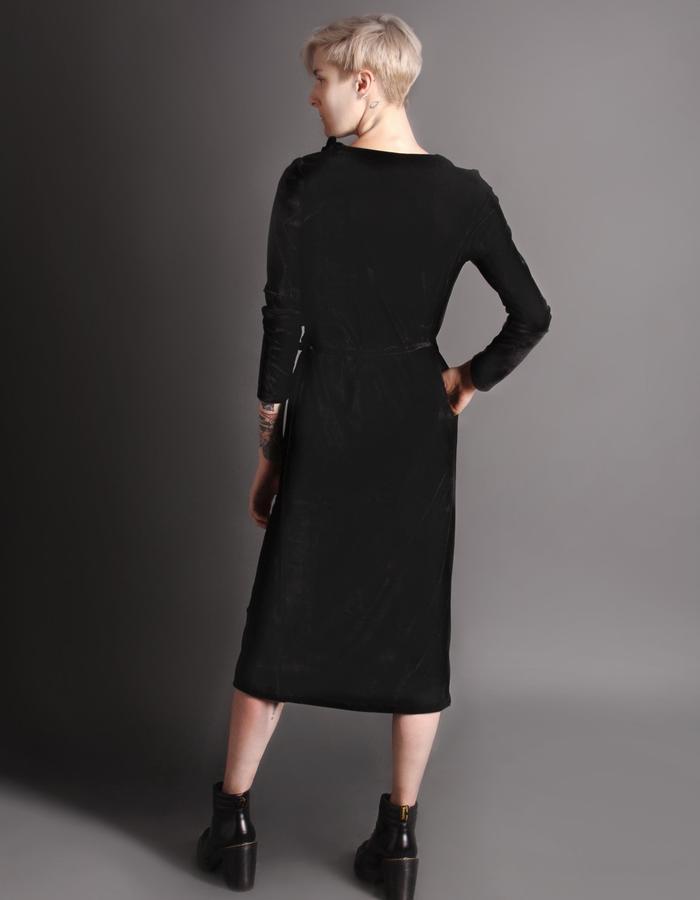 Black wrap dress back