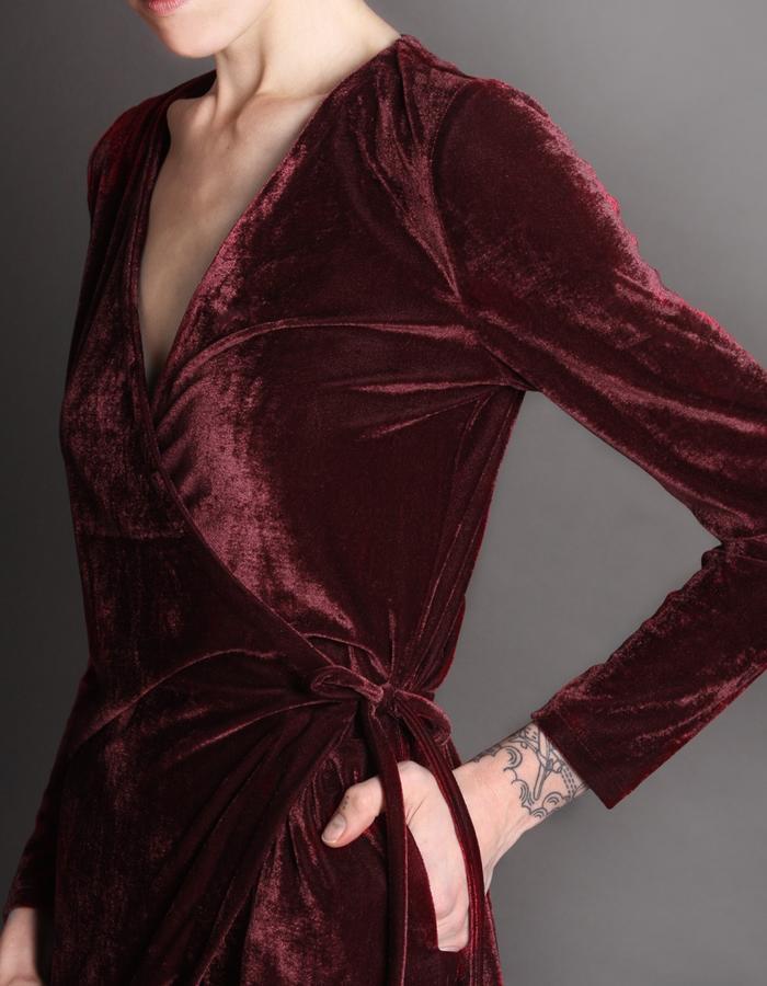 Red wrap dress detail