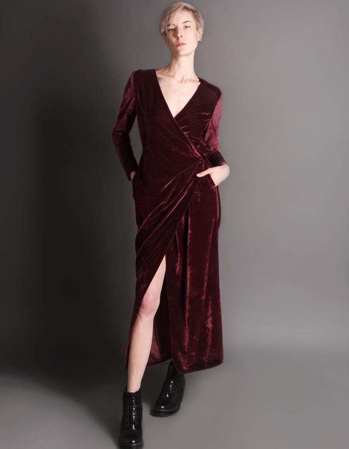 Red wrap dress front