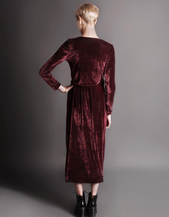 Red wrap dress back