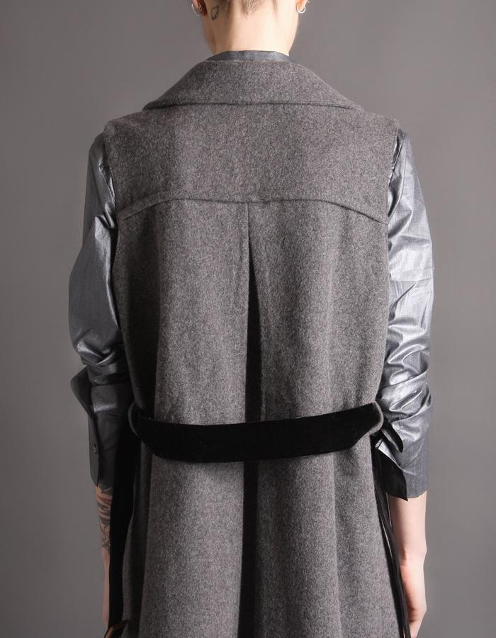 Wool coat without sleeves back