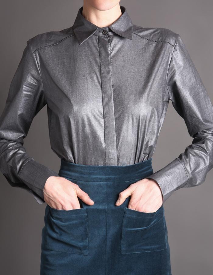 Teal velvet skirt with pockets + Silver cotton shirt detail