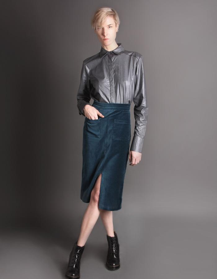 Teal velvet skirt with pockets + Silver cotton shirt front