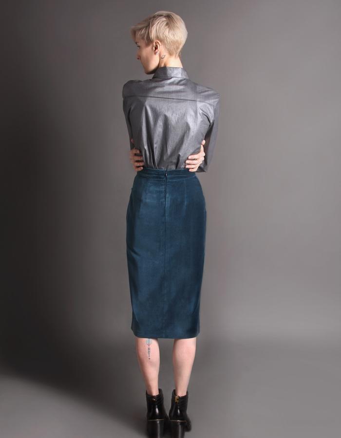 Teal velvet skirt with pockets + Silver cotton shirt back
