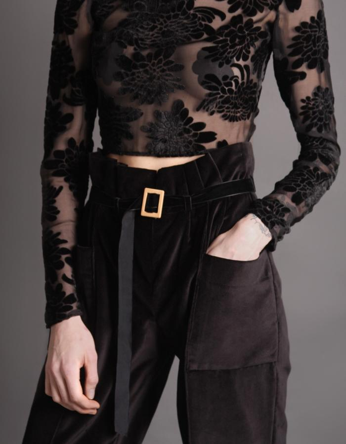 Croptop velvet transparent + Velvet trousers with belt and bamboo buckle detail